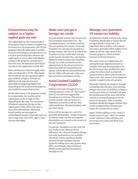 Private Company Services Pwc Wealth And Tax Matters 2014 Issue 1
