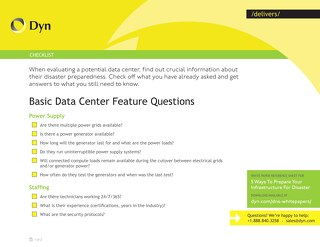 Basic Data Center Feature Questions