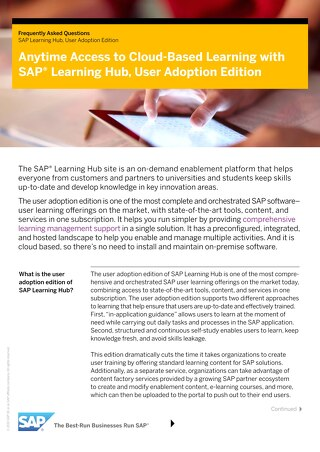 Anytime Access to Cloud-Based Learning with SAP® Learning Hub, User Adoption Edition