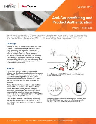 Anti-Counterfeiting and Product Authentication