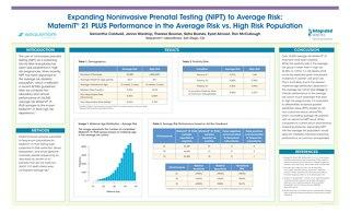 Expanding Noninvasive Prenatal Testing (NIPT) to Average Risk: MaterniT® 21 PLUS Performance in the Average Risk vs. High Risk Population