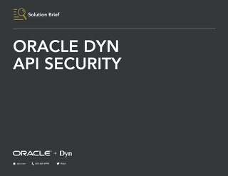 Solution Brief - Oracle Dyn API Security