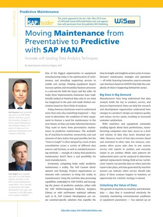 SAPinsider: Moving Maintenance from Preventative to Predictive with SAP HANA