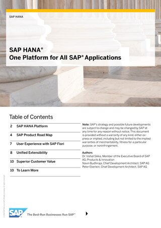 SAP HANA: One Platform for All SAP Applications