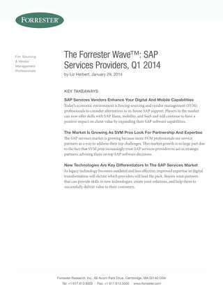 The Forrester Wave(TM): SAP Services Providers - Q1 2014