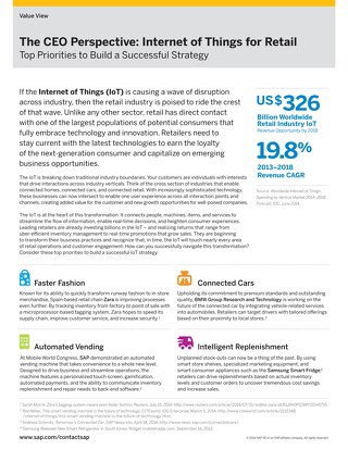 The CEO Perspective: Internet of Things for Retail Top Priorities to Build a Successful Strategy