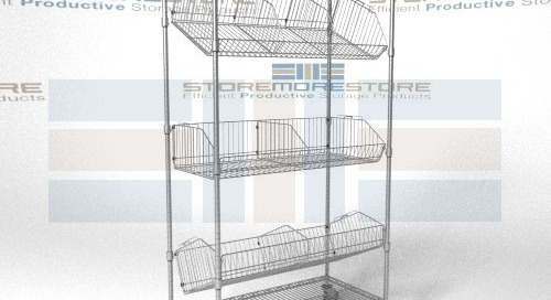 Angled Shelf Carts with Adjustable Wire Baskets for Storage or Display