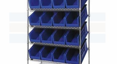 Tilted Wire Shelving Racks & Carts with Angled Bins