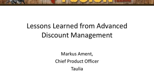 Presentation: Lessons Learned from Advanced Discount Management