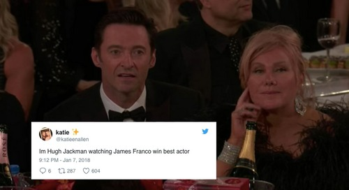 People Can't Get Over Hugh Jackman's Shocked Face After His Golden Globes Loss