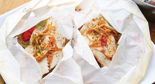 Scallion and Ginger Baked Walleye