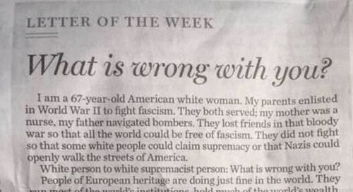 White Woman Asks White Supremacists: 'What Is Wrong With You?'