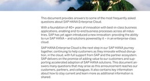 SAP HANA Enterprise Cloud FAQs External