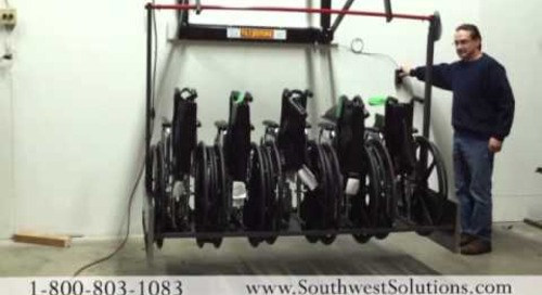 Push Button Wheelchair Storage Racks Saves Space | Ways to Store Wheel Chairs