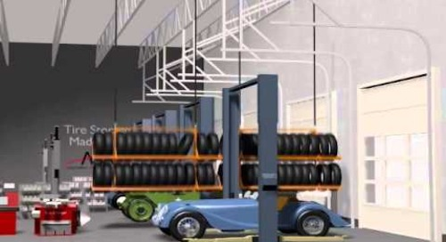 Lifting Tire Storage Racks Raise Tires Up Above Floor Level to Save Space