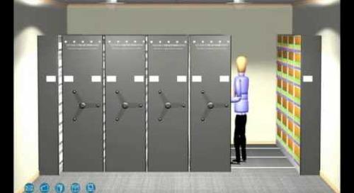 Three Spoke Hand Crank High Density Shelving | Spin Wheel Shelves and File Cabinets